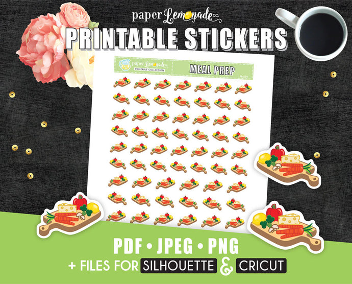 Cutting board Printable Stickers Meal prep PR-079