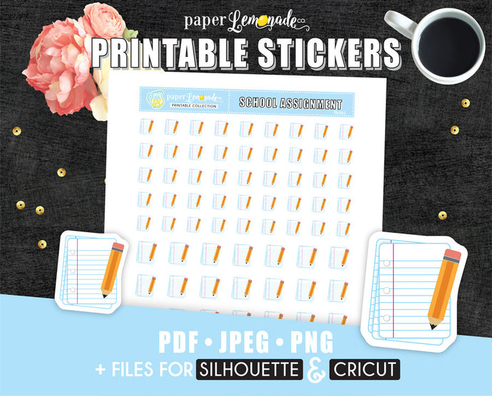 School Printable Stickers Assignment Stickers Homework printable stickers PR-042