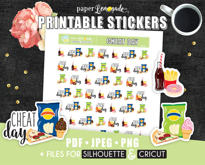 Cheat day Printable Stickers PR-219