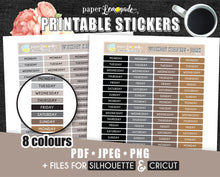 Printable Stickers Daily header stickers Printable weekday neutral stickers PR-230