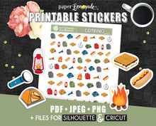 Camping Printable Stickers s'mores tent printable stickers PR-021