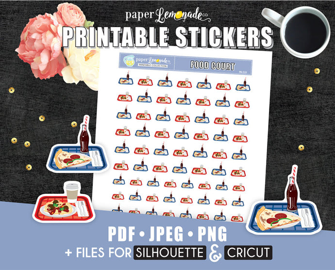 Food court Printable Stickers eating at the mall