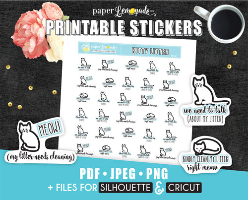 Litter cleaning Printable Stickers
