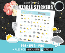 Printable Stickers Weather stickers Printable weather forecast PR-132
