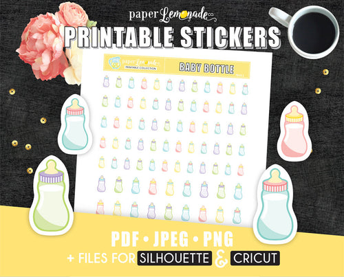 Printable Stickers Baby Bottle stickers PR-011
