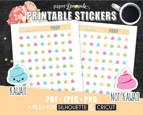 Pastel poop Printable Stickers