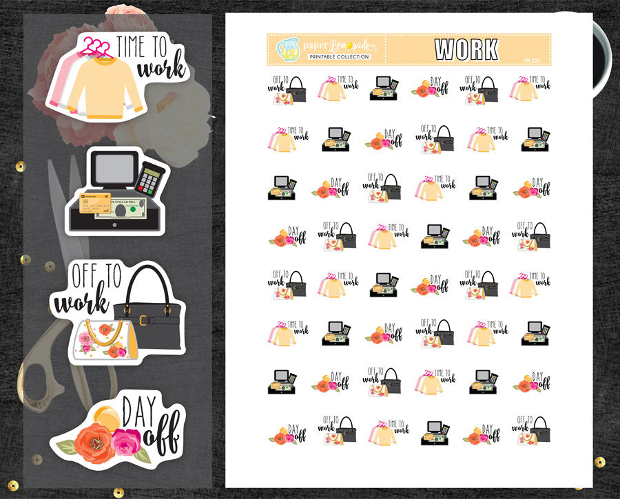 work retail printable stickers day off stickers work
