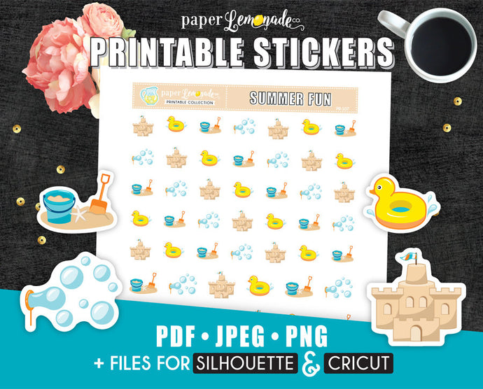 Beach Printable Stickers Beach planner stickers Sandcastle PR-107