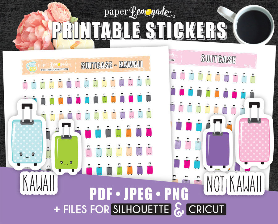 Suitcase Printable Stickers Kawaii and NOT kawaii Suitcase Stickers Travel PR-122
