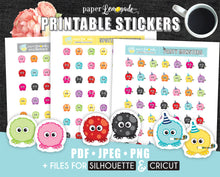 Monster Printable Stickers Period and spotting monster stickers Party monster