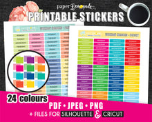 Printable Stickers Daily header stickers Printable weekday bright stickers PR-231