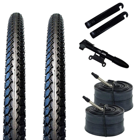 ZOL Bundle Pack 2 Velocita BMX Tires, 2 Bike Tube 20x1 3/8, Presta/French 48 MM, 2 Tire Levers and 1 Mini Pump - Zol Cycling