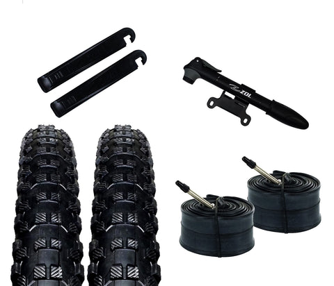 Zol Bundle Pack 2 Montagna MTB Tires, 2 Bike Tube 26x1.95, Presta/French 48 MM, 2 Tire Levers and 1 Zol Mini Pump - Zol Cycling