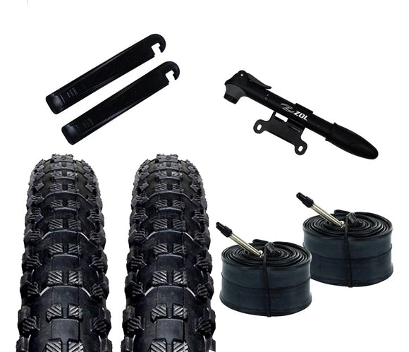 Zol Bundle Pack 2 Montagna MTB Tires, 2 Bike Tube 29x1.95, French Valve 48 MM, 2 Tire Levers and 1 Zol Mini Pump - Zol Cycling