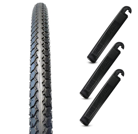 Zol Velocita Bmx Wire Bike Bicycle Tire 20x1 3/8c G5012 Black with 3 Tire Levers - Zol Cycling