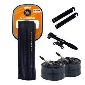 Zol Bundle 2 Pack Z1179 Folding Road Tires, 2 Bike Tubes 700x23C Presta/French, 2 Tire Levers and 1 Zol Mini Pump - Zol Cycling