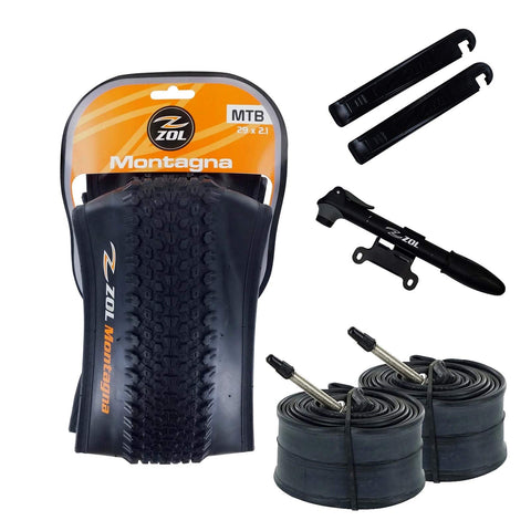 ZOL Bundle Pack 2 Montagna Folding MTB Tires, 2 Bike Tube 29x1.95, French Valve 48 MM, 2 Tire Levers and 1 Mini Pump - Zol Cycling