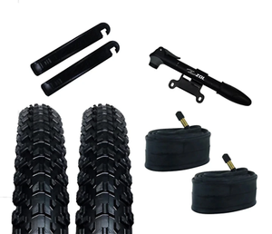 Zol Bundle Pack 2 Montagna MTB Tires 26x 2.25, 2 Bike Tube 26x1.95, Schrader 48 MM, 2 Tire Levers and 1 Zol Mini Pump - Zol Cycling