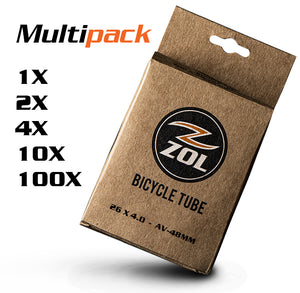 "Zol Multipack Fat Tire Bike Bicycle Inner Tube 26""x4.0 Schrader Valve 48mm - Zol Cycling"