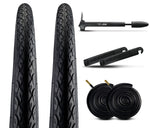 Zol Bundle 2 Pack Road Tires, 2 Bike Tubes 700x38 Schrader, 2 Tire Levers and 1 Zol Mini Pump - Zol Cycling
