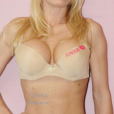 Amour Kiss Print Love Satin Underwire T-shirt Bra beige