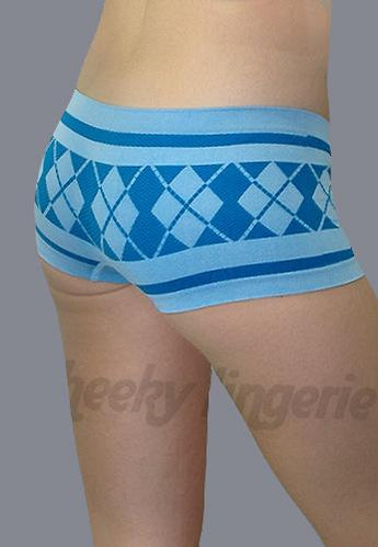 Free Size Seamless Plaid Boxer Boyshort Blue Blue