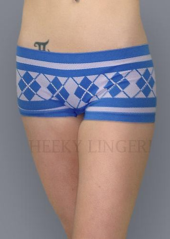 Free Size Seamless Plaid Boxer Boyshort Blue Gray