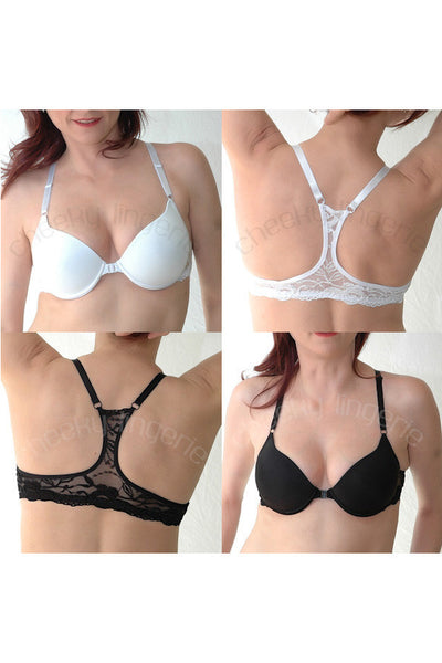 32 34 36 38 40 42 44 A B C D DD Great Fit Semaless Front Close Racerback Bra - Cheeky Lingerie