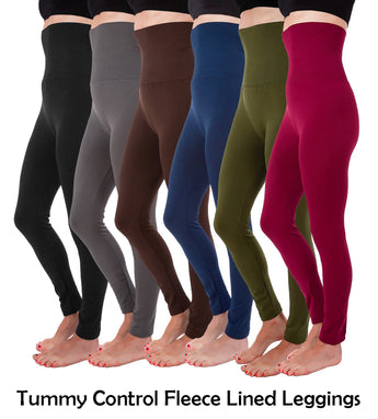 High Waist Fleece Lined Thick Tummy-Compression Fleece Leggings