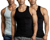 3-Pack Men's Premium A-Shirt Tank Top Muscle Shirt assorted