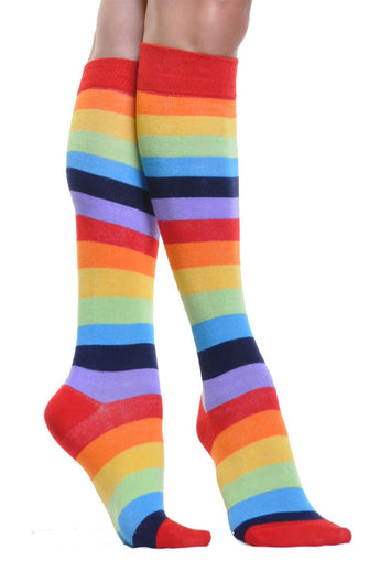 Rainbow Stripes Knee High Socks Stockings One Size
