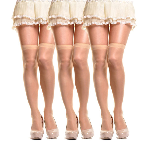 (3-Pair) Angelina Sheer Nylon Thigh High Stocking beige