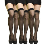 (3-Pair) Angelina Sheer Nylon Thigh High Stocking black