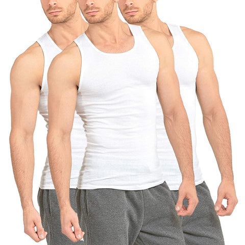 3-Pack Men's Premium A-Shirt Tank Top Muscle Shirt White