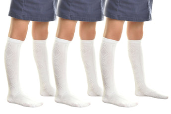 Angelina 3-Pairs Girls Cotton Uniform Knee-High School Socks patterned white
