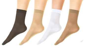 (6-Pairs) Angelina Stay-Up 40D Sheer Nylon Ankle Hosiery Socks