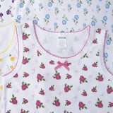 4 Pack Bow Detail Girls Printed 100% Cotton Undershirt Camisole Tank Top Tops with cute bow