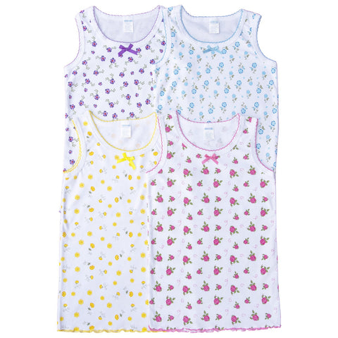 4 Pack Bow Detail Girls Printed 100% Cotton Undershirt Camisole Tank Top Tops