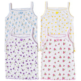 (4-Pack) Girls Spaghetti Straps Cotton Floral Undershirt Camisole Tank Tops