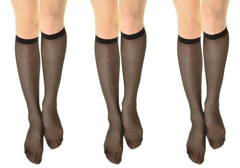 Womens 15 denier Sheer Knee High Trouser Socks black