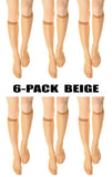 (6-Pack) Womens 15 denier Sheer Knee High Trouser Socks Beige