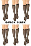 (6-Pack) Womens 15 denier Sheer Knee High Trouser Socks Black