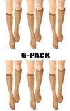 (6-Pack) Womens 15 denier Sheer Knee High Trouser Socks