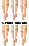 (6-Pack) Womens 15 denier Sheer Knee High Trouser Socks Suntan