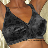 Unpadded Floral Embroidered Soft Cup Full Figure Bra Black