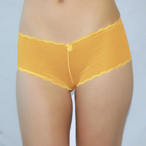 See Thru Sheer ribbon tie Lace Up Boyshort Panties orange