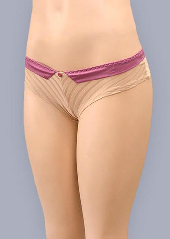 Wide Waisted Low Rise Striped Satin Panties 1