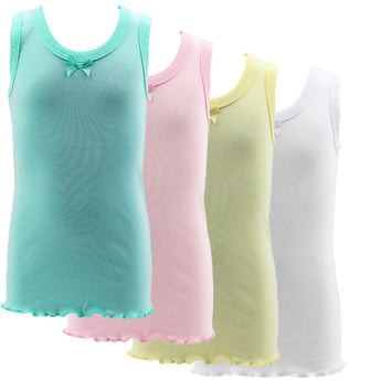 4 Pack Bow Detail Girls Colorful/All White 100% Cotton Undershirt Camisole Tank Top Tops cheeky fashion