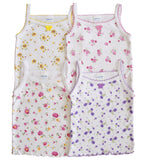 4 Pack Baby / Infants girls Bow Detail Floral Printed/All White 100% Cotton Undershirt Spaghetti Camisole Tank Top Tops