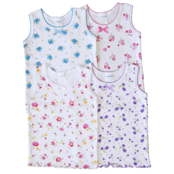 4 Pack Baby / Infants girls Bow Detail Floral Printed/All White 100% Cotton Undershirt Camisole Tank Top Tops